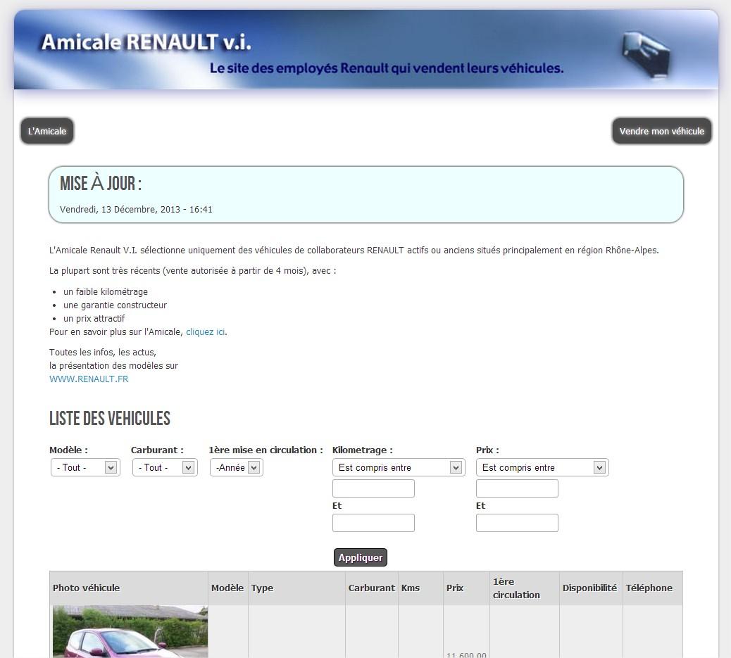 Page d'accueil du site de l'Amicale Renault