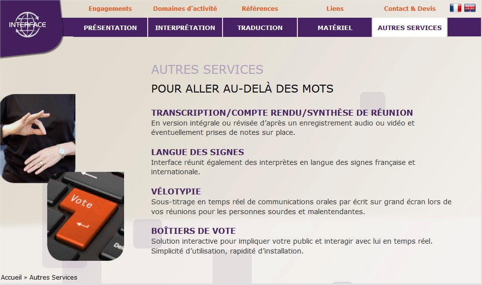 interpretation en langage des signes Lyon Paris